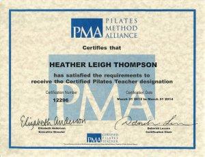 The PMA Pilates Certifcate