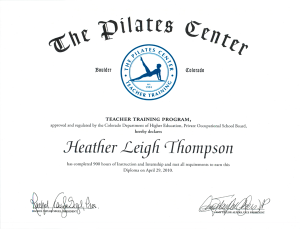 The Pilates Center Certificate